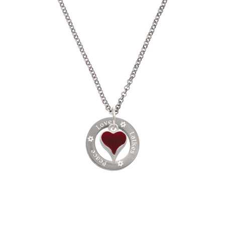 Silvertone Small Long Maroon Heart Peace Love Latkes Affirmation Ring Necklace](Maroon Necklace)