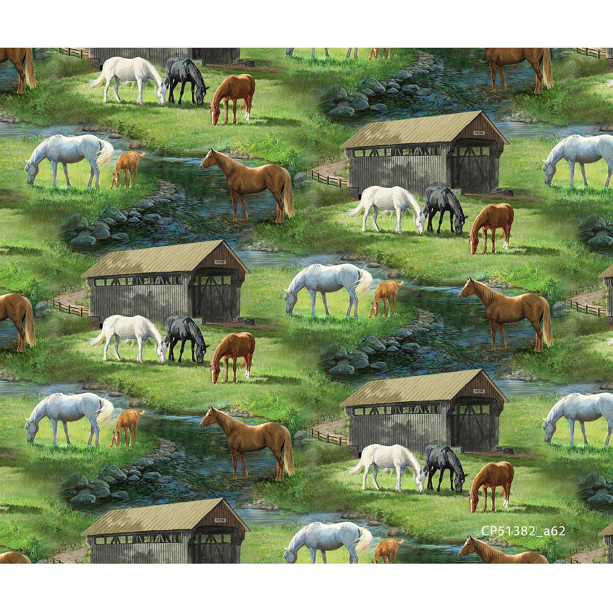 Springs Creative Wild Wings Sweetwater Fabric, Sweetwater Bridge Scenic, Multicolor