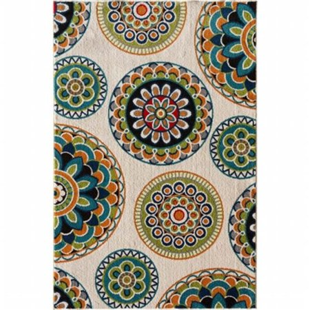 Terrace Patio Rug - Central Oriental 2300NI71.084 Terrace Tropic 084 Burnette 100 Percent Heat Set Polypropylene Rug, Snow & Multi Color - 6 ft. 7 in. x 9 ft. 6 in.