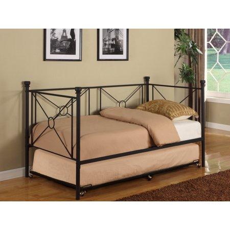 twin size black metal day bed frame with pop up high riser trundle headboard footboard rails. Black Bedroom Furniture Sets. Home Design Ideas
