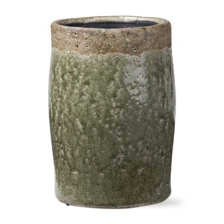 Green Rustic Vases - TAG Crackle Glazed Rustic Vase Tall Green