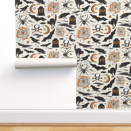 Vintage Halloween Witch Wallpaper (Removable Water-Activated Wallpaper Halloween Vintage Retro Bat Skull)