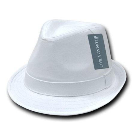 DECKY Basic Poly Woven Fedora, White, Small/Medium (White Fedoras)