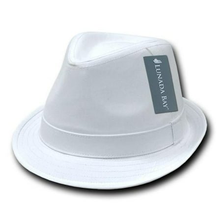 DECKY Basic Poly Woven Fedora, White, Small/Medium