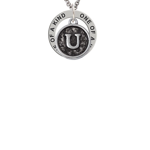 Antiqued Round Seal - Initial - U - One of a Kind Affirmation Ring Necklace