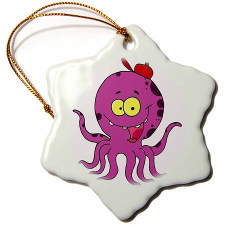 Rays Baseball Cap Ornament (3dRose Silly Octopus Wearing Baseball Cap Hat, Snowflake Ornament, Porcelain, 3-inch)