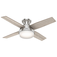 "Hunter 44"" Dempsey Brushed Nickel Ceiling Fan with Light Kit and Remote"