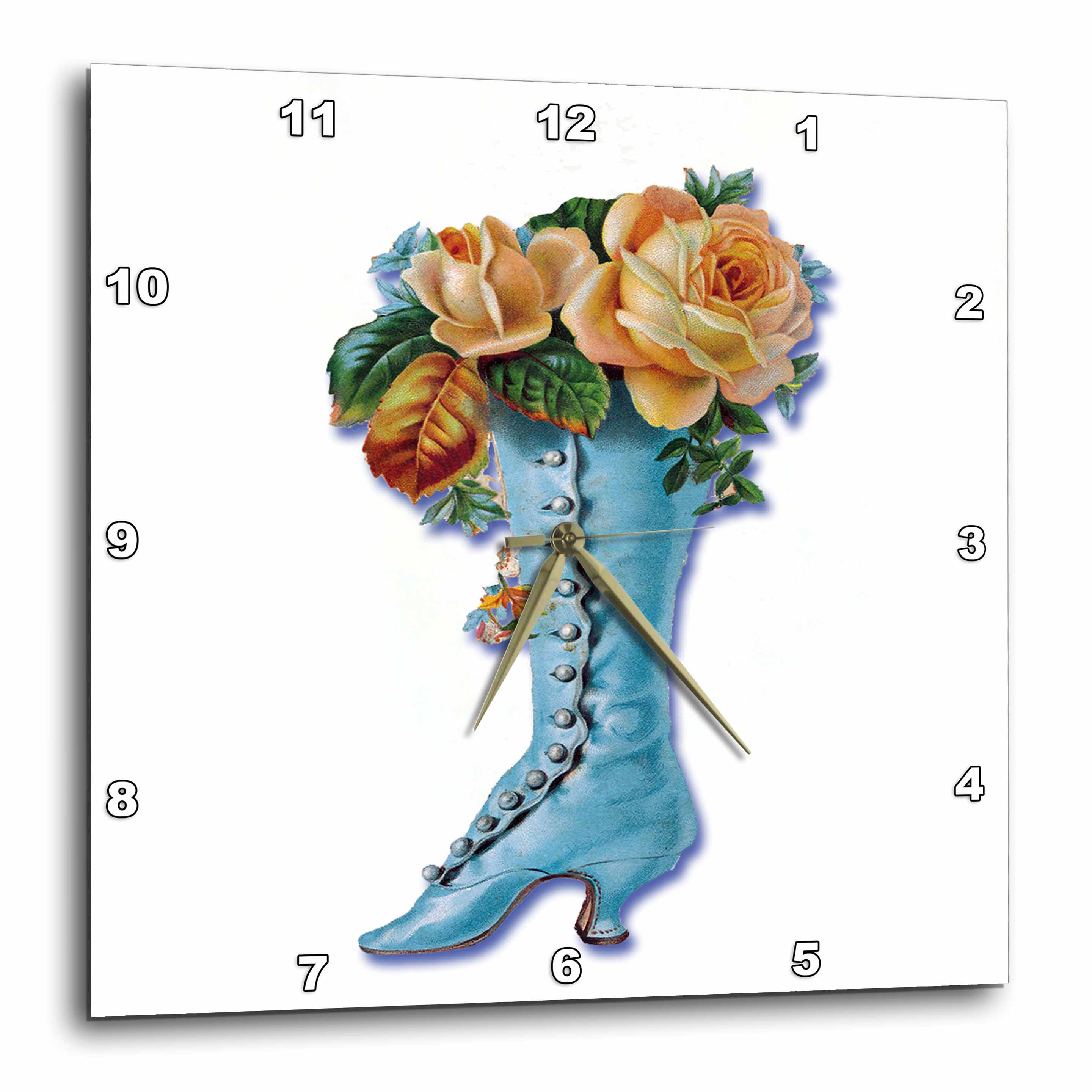 3dRose Pretty Light Blue Victorian Boot Filled with Peach Colored Roses, Wall Clock, 10 by 10-inch