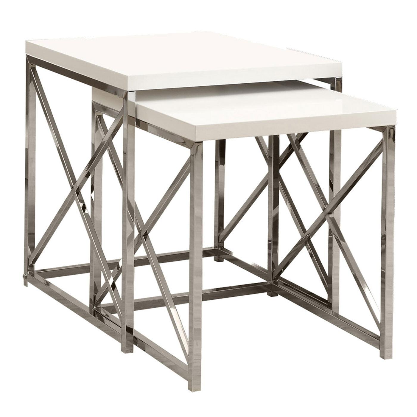 Monarch Nesting Table 2Pcs Set / Glossy White / Chrome Metal