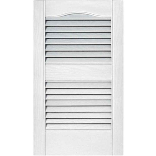 15 in. Vinyl Louvered Shutters in White - Set of 2 (14.5 in. W x 1 in. D x 54.75 in. H (5.96 lbs.))