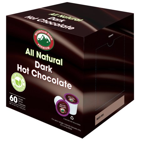 Mountain High All Natural Hot Chocolate K Cups 2.0 Compatible (Dark Chocolate, 60) ()