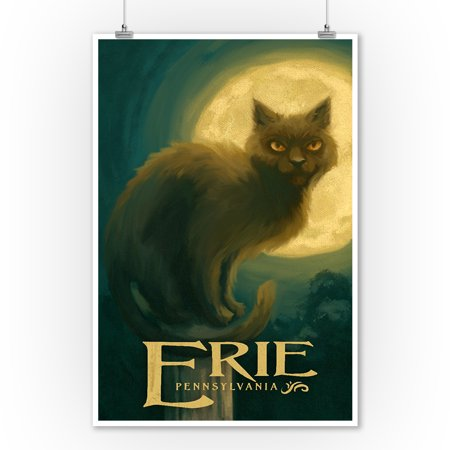 Erie, Pennsylvania - Black Cat - Halloween Oil Painting - Lantern Press Artwork (9x12 Art Print, Wall Decor Travel - Cat Painting For Halloween