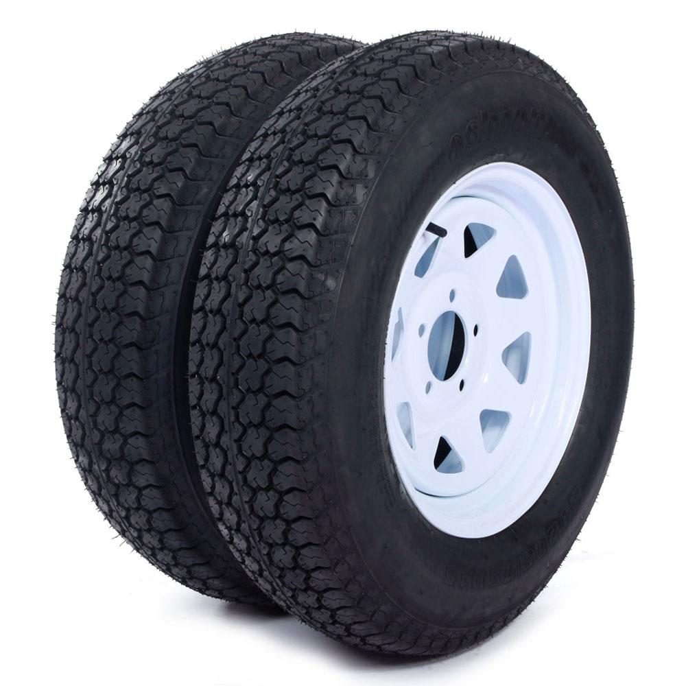 "Ktaxon Two Trailer Tires & Rims ST205/75D15 F78-15 205/75-15 15"" LRC 5 Lug White Spoke"