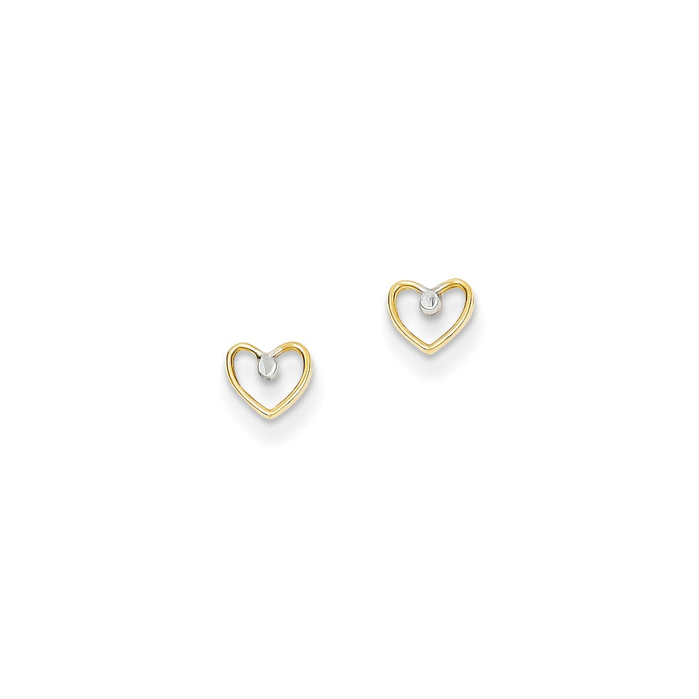 14K Yellow Gold and Rhodium Bead in Heart Post Earrings (5MM)