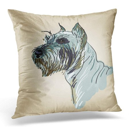 ECCOT Black Painting Drawing Head of Dog Breed Terrier Brown Scottish Pillowcase Pillow Cover Cushion Case 18x18 (Best Pointing Dog Breeds)