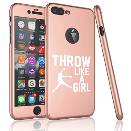 For Apple Iphone 360 Full Body Thin Slim Hard Case Cover Tempered Glass Screen Protector Throw Like A Girl Softball Rose Gold For Iphone 66s