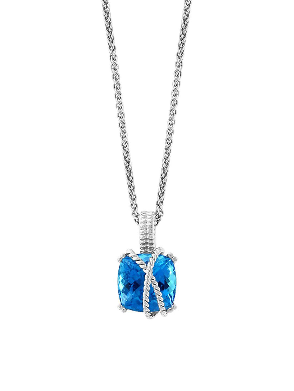 Sterling Silver & Blue Topaz Pendant Necklace