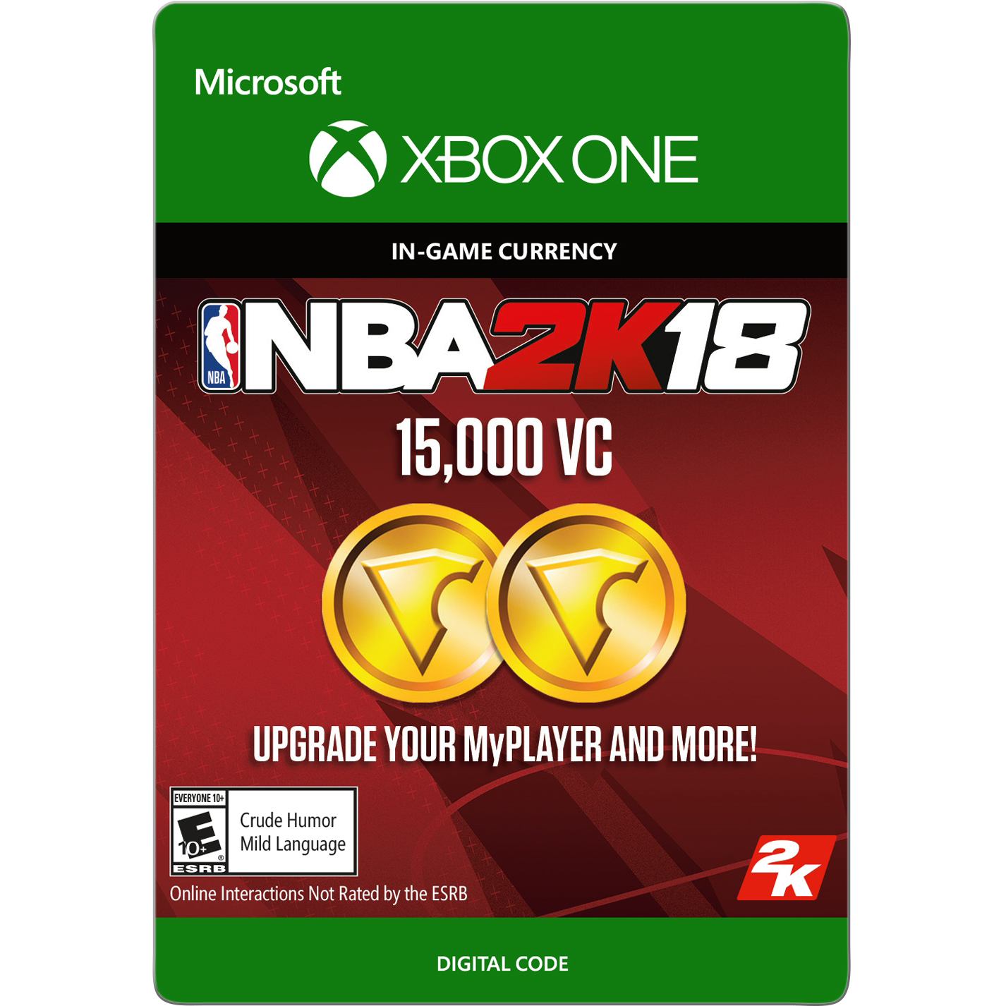 NBA 2K18 15,000 VC (Digital Download), 2K, Xbox One, 799366475873