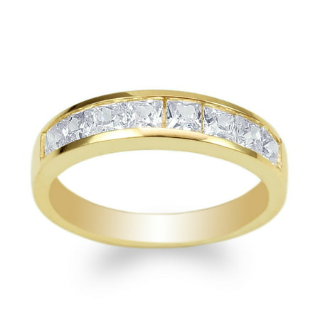 Ladies 10K Yellow Gold Square CZ Wedding Channel Band Ring Size 4-10