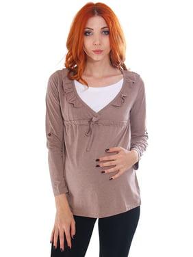 Simplicity Women's Gathered Long Sleeve Maternity Nursing Tunic Blouse, Coffee