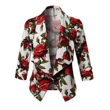 JustVH Women's 3/4 Sleeve Draped Floral Printed Work Office Ladies Blazer Jacket