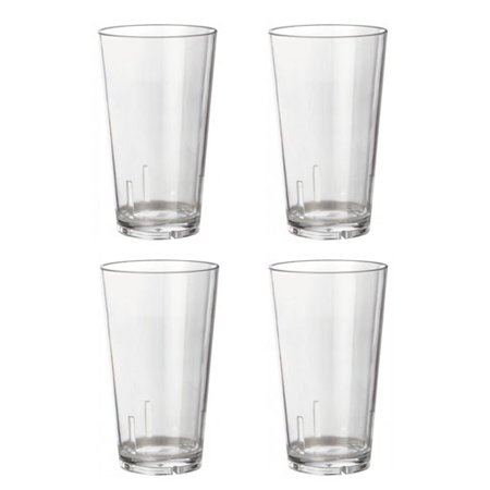 Acrylic Beer Pint Glasses - Break Resistant - 16 oz - Set of 4 Beer Pint Glass Set