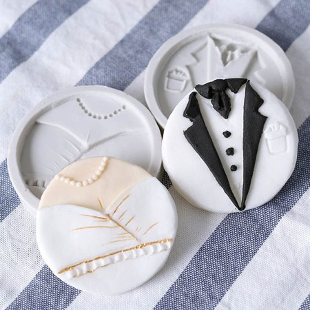 Heepo Wedding Bride Dress Groom Suit Silicone Mold Fondant Cake DIY Decorating Tool - Moll Suit