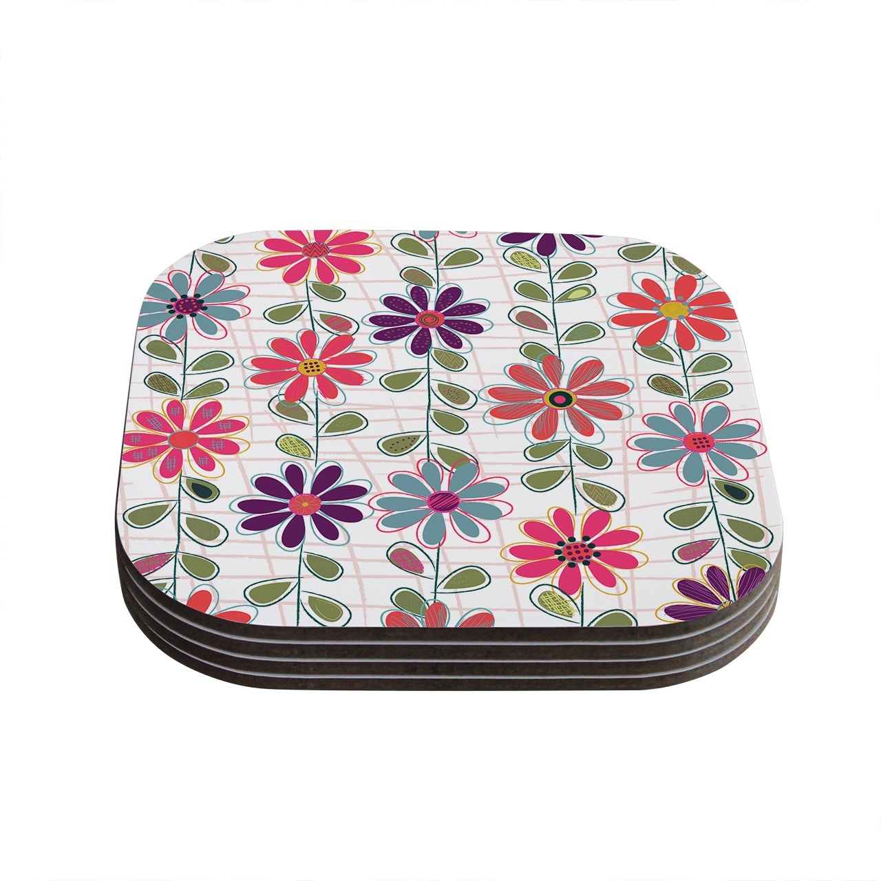 Kess InHouse  Jolene Heckman 'Fall Flowers' Floral Coasters (Pack of 4)