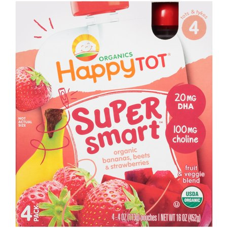 Happy Tot® Organics Super Smart™ Organic Bananas, Beets & Strawberries Fruit & Veggie Blend 4 oz. Pouches, 4 count