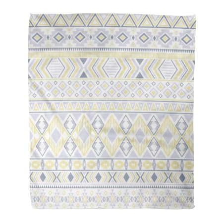 ASHLEIGH Flannel Throw Blanket Sacral Tribal Ethnic Motifs Geometric Impressive Gypsy Shapes Sprites Traditional Triangles 50x60 Inch Lightweight Cozy Plush Fluffy Warm Fuzzy Soft