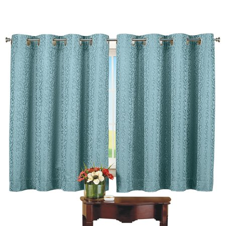 Thermal Insulated Scroll Pattern Short Curtain Panel - Energy Saving and Noise Reducing Curtains For Any Room in Home, 56
