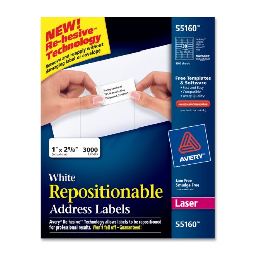 "Avery Repositionable Mailing Label - 2.63"" Width X 1"" Length - 3000 / Box - Rectangle - 30/sheet - Laser - White (55160)"