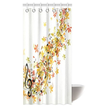 Mypop Music Decor Shower Curtain  Musical Fantasy Happiness Freedom Decorating Natural Leaf Trees Image Fabric Bathroom Shower Curtain With Hooks  36 X 72 Inches