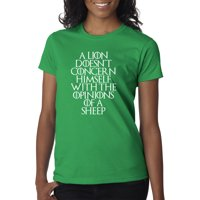 Trendy USA 1409 - Women's T-Shirt Lion Doesn't Concern Himself With Opinions Of Sheep XL Navy