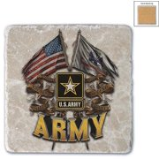 US Army Double Flag US Army Single Natural Stone Coaster