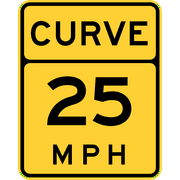 Traffic Signs - Curve speed advisory, replaced by MUTCD W13-1 Heavy Duty 12 x 18 Peel-n-Stick Sign Street Weather Approved Sign