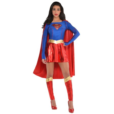 Superman Cape For Adults (Costumes USA Superman Supergirl Costume for Adults, Includes a Dress with an Attached Cape and Leg)