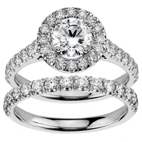 14k/ 18k White Gold 2 1/4ct TDW Diamond Engagement Bridal Set (G-H, SI1-SI2) 18k Gold - Size 7.5