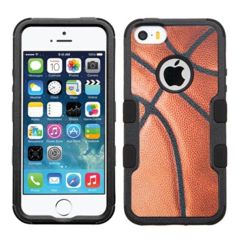 Insten Tuff Basketball Hard Hybrid Rubber Silicone Case For Apple iPhone SE 5S 5 - Brown/Black