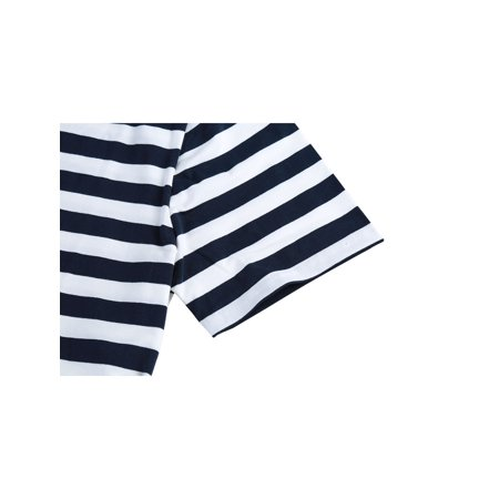 Men Casual Crew Neck Color Block Short Sleeve Striped T Shirt Navy Blue L - image 2 of 7