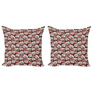 Christmas Throw Pillow Cushion Cover Pack of 2, Snowman Reindeer Santa Claus Cartoon Image Theme Winter, Zippered Double-Side Digital Print, 4 Sizes, Pale Brown White and Red, by Ambesonne