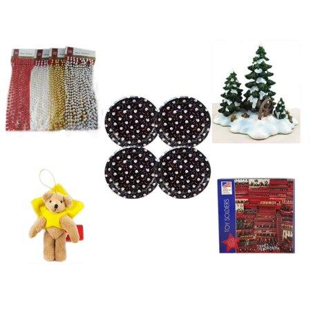 Christmas Fun Gift Bundle [5 Piece] - Brite Star Assorted Bead Garland 18' Ft. Ea. - Dept. 56 Village Accessory Wagonwheel Pine Grove -  Tin Plate/Dish 9