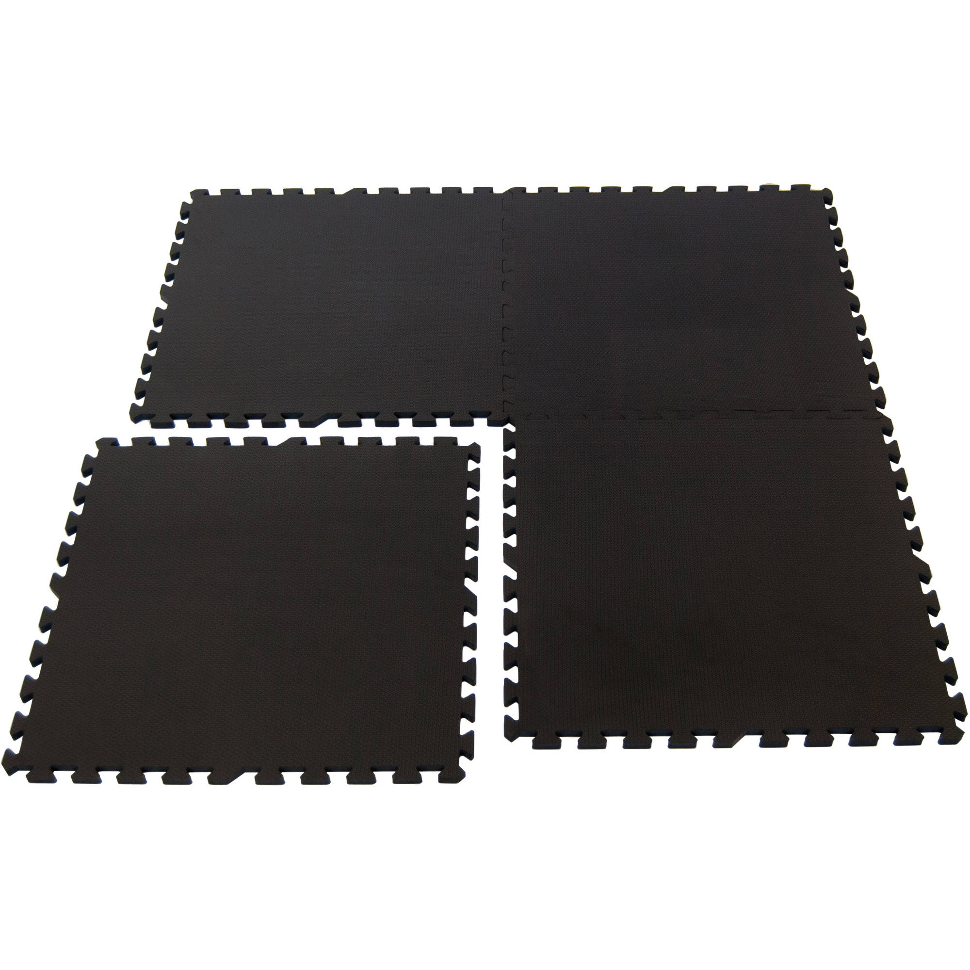 Wonder Mat Quality Multipurpose Anti-Fatigue Extra Thick Mats (Set of 4), Black, 2' x 2'