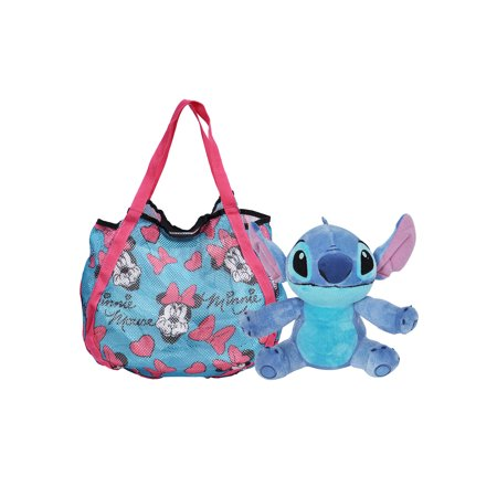 Minnie Mouse Beach Shopping Tote Bag & Stitch Plush Doll (Stitch Toy)