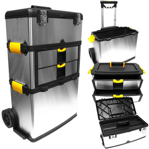 Stalwart Massive and Mobile 3-Part Stainless Steel Tool Box