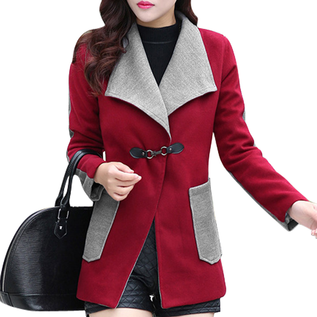 7139 Turn Down Collar Color Blocking Casual Worsted Coat for Women