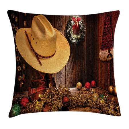 Americana Decorations (Western Decor Throw Pillow Cushion Cover, Farmhouse with Christmas Decorations with Wreath Americana Style Image Print, Decorative Square Accent Pillow Case, 20 X 20 Inches, Cream Brown, by Ambesonne)