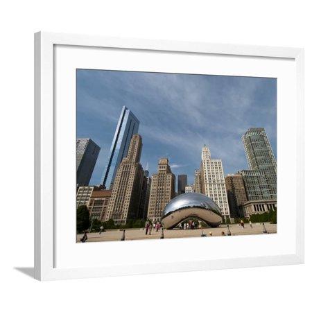 Millennium Park and Cloud Gate Sculpture, Aka the Bean, Chicago, Illinois, Usa Framed Print Wall Art By Alan Klehr ()