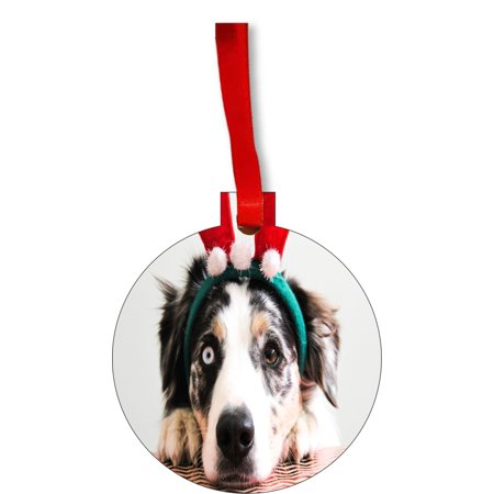 Ornament Dog Ornaments Funny Dog in Reindeer Ears Round Shaped Flat Hardboard Christmas Ornament Tree Decoration - Unique Modern Novelty Tree Décor Favors - Funny Reindeer Names