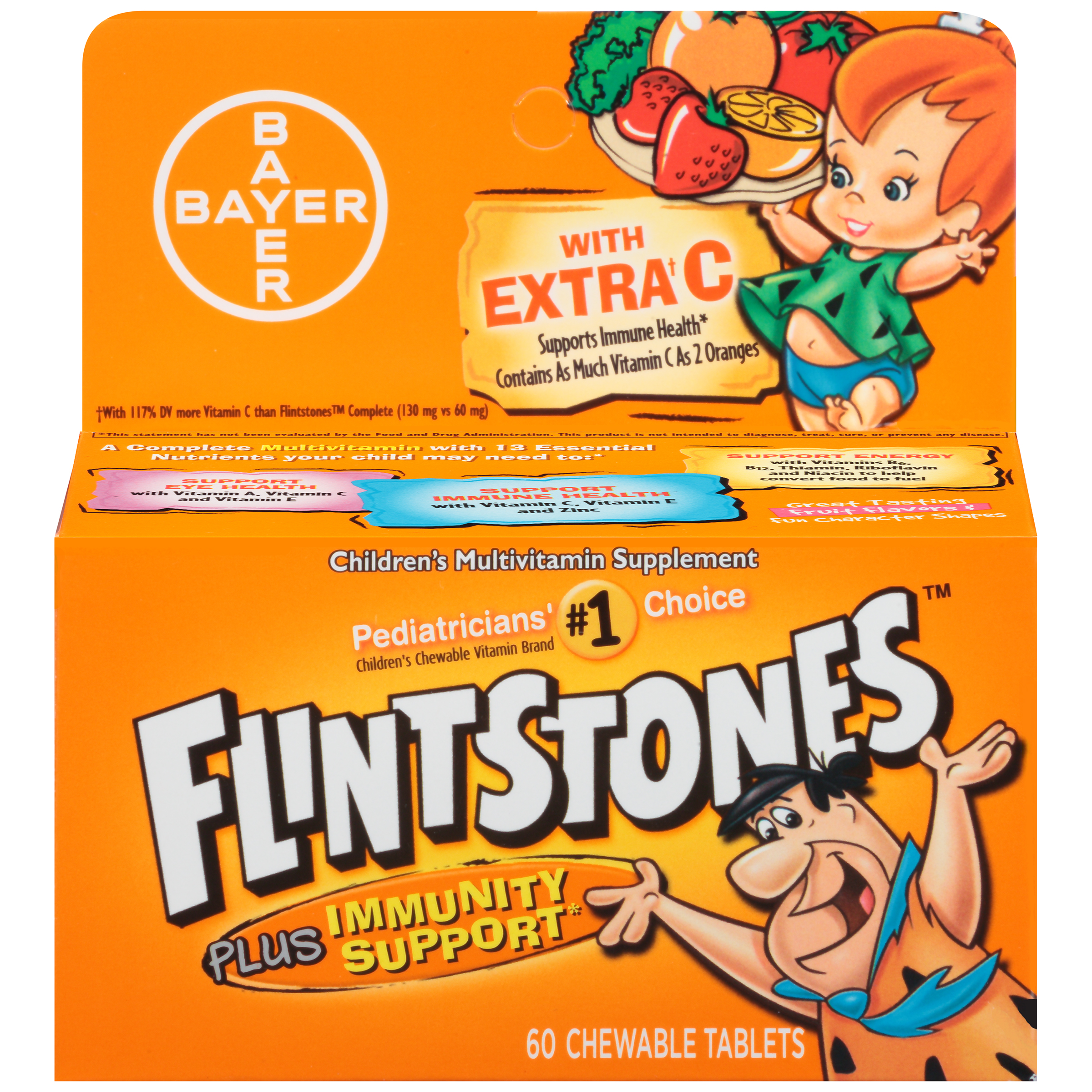 Flintstones Children Chewable Multivitamin Immunity Support, 60 Count